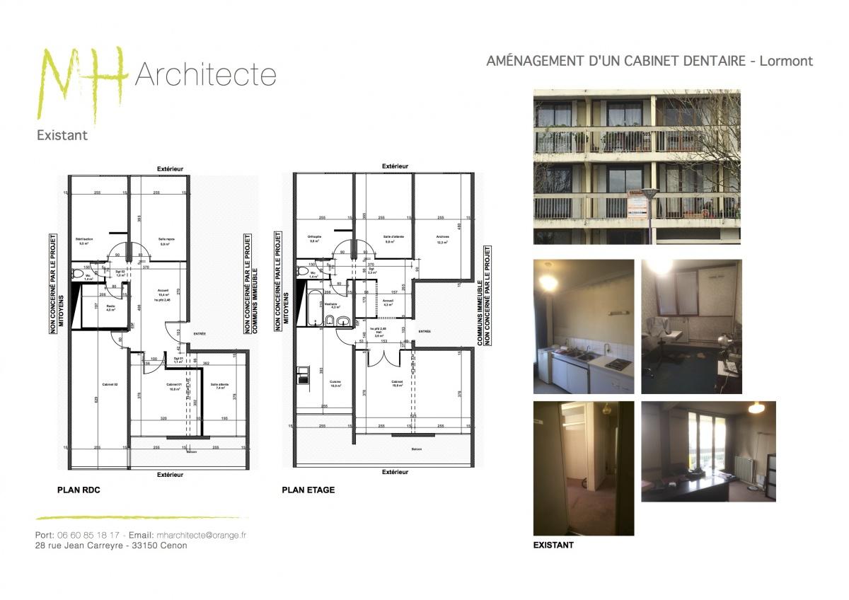 Jumelage de 2 appartements pour création d'un cabinet dentaire - LORMONT : 01 PLANCHE 1 DENTISTES - Lormont