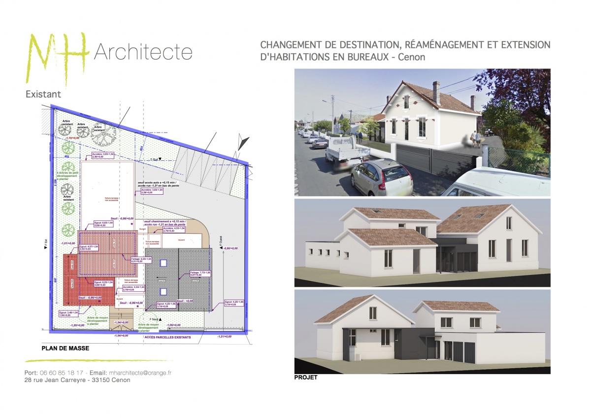 Changement de destination de maisons en bureaux - CENON