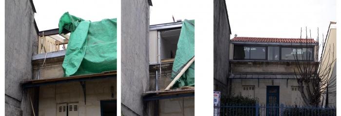 Surélévation d'une échoppe : evolution elevation côté rue