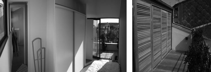 Surélévation d'une échoppe : chambre terrasse