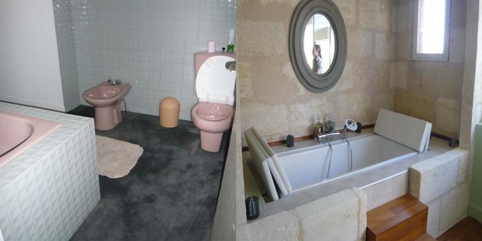 Réhabilitation d'une maison en pierre : baignoire