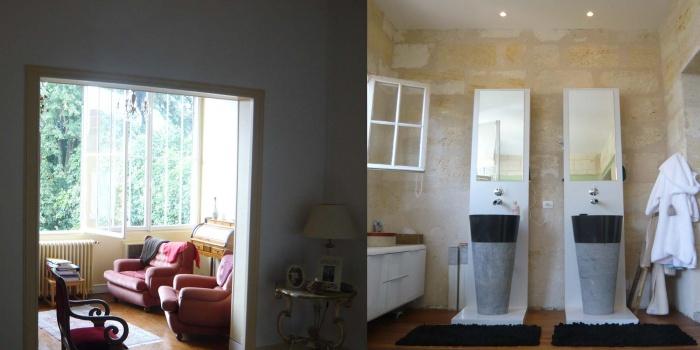 Réhabilitation d'une maison en pierre : salle de bain AV AP