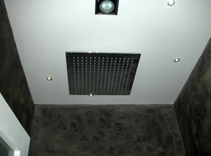 Réaménagement d'une chambre d'ami : pommau de douche et plafond