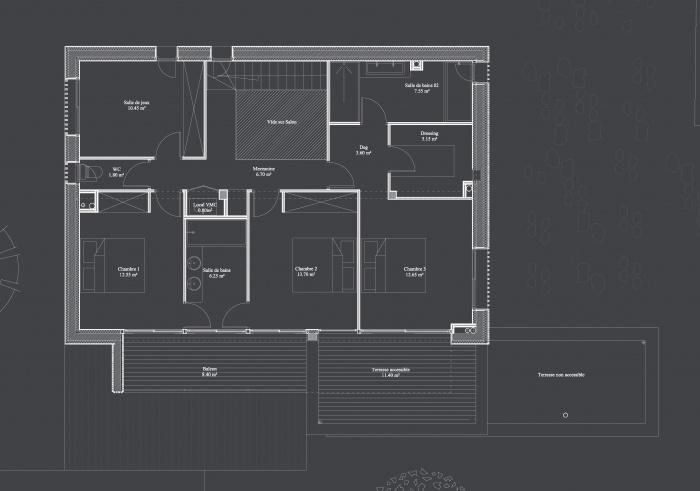 Maison contemporaine basse consommation : 02 Plan etage copie