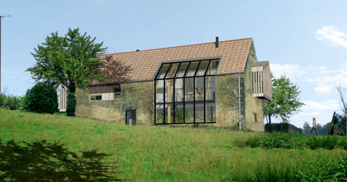 architectes une maison dans la grange saint chamassy. Black Bedroom Furniture Sets. Home Design Ideas