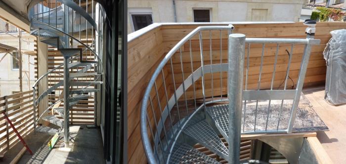 Surélévation parpaing bois pierre : 09 Escalier