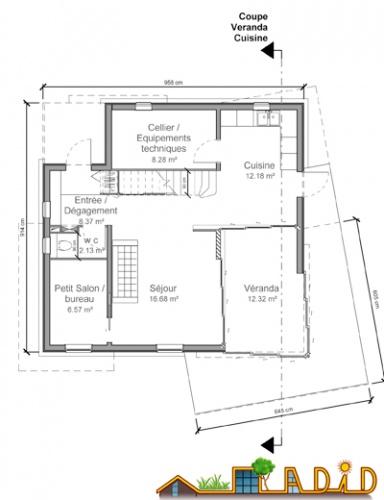 La maison               'Coin au soleil' : Plan RdC
