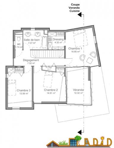 La maison               'Coin au soleil' : Plan Etage