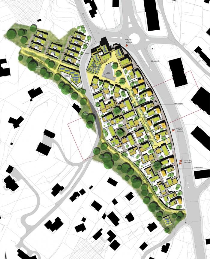 Projet de noyau villageois / concours Europan 10 : plan aménagement