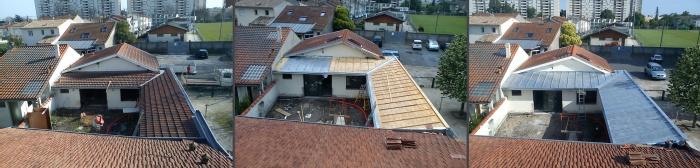 Réhabilitation d'une échoppe double avec patio : toiture