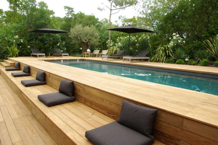 Piscine et terrasse bois  jardin et terrasse  Pinterest