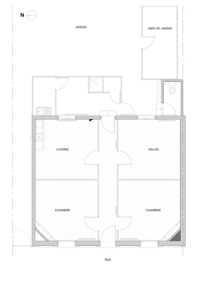 Rénovation échoppe W : Plan d'état des lieux