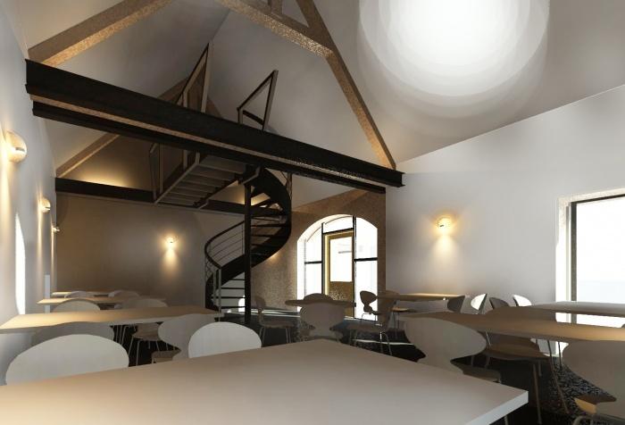 Amménagement d'une grange en salle de restaurant