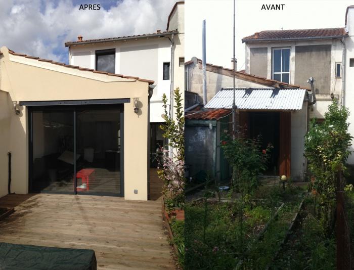 Réaménagement d'une maison d'habitation et construction d'un garage : FACADE AV AP.jpg