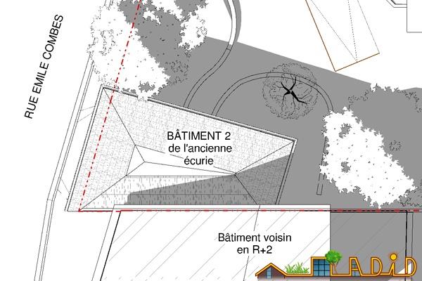 Extension/surélévation d'une ancienne écurie/garage : 13-020 - Existant - Toiture