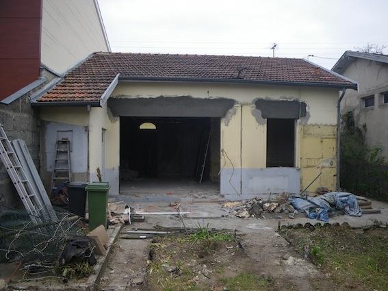 Rénovation échoppe W : Façade arrière en cours de chantier