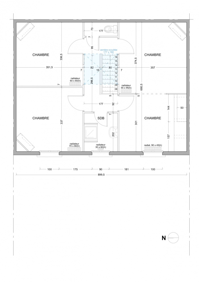 Rénovation échoppe F : Plan EDL / R+1