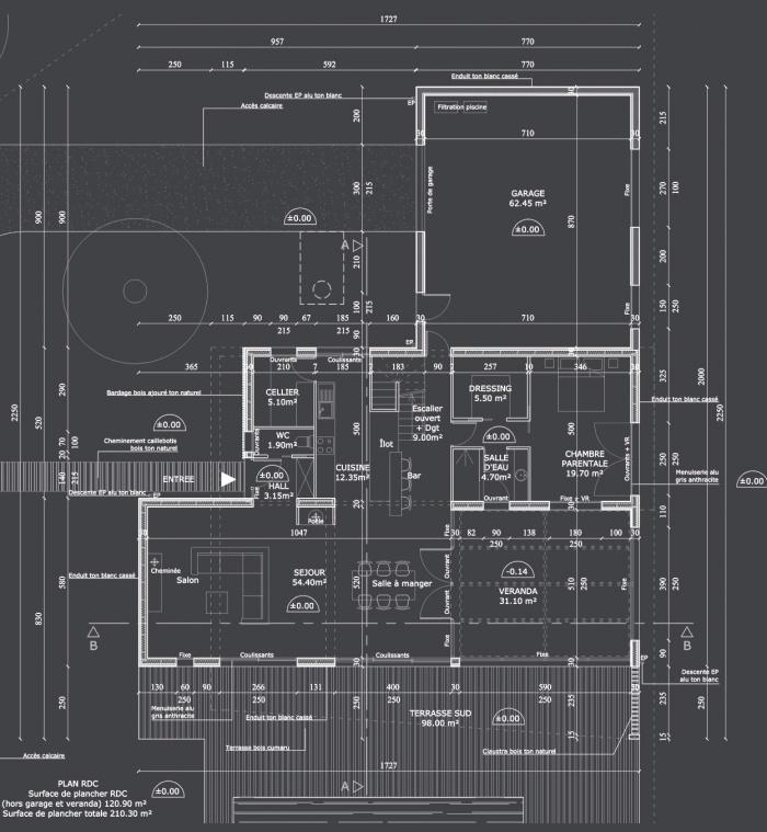 Maison S : Plan RDC projet