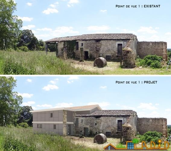 Intégration d'une maison neuve dans une ferme désafectée
