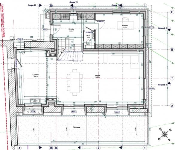 Intégration d'une maison neuve dans une ferme désafectée : 13-027 - PRO-DCE - PLAN RDC
