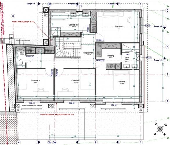 Intégration d'une maison neuve dans une ferme désafectée : 13-027 - PRO-DCE - PLAN R+1