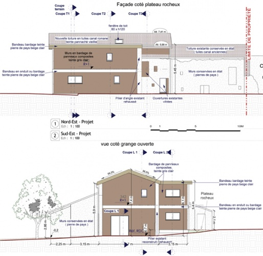 Intégration d'une maison neuve dans une ferme désafectée : Pages de 13-027 - PRO-DCE - FACADES 1-2