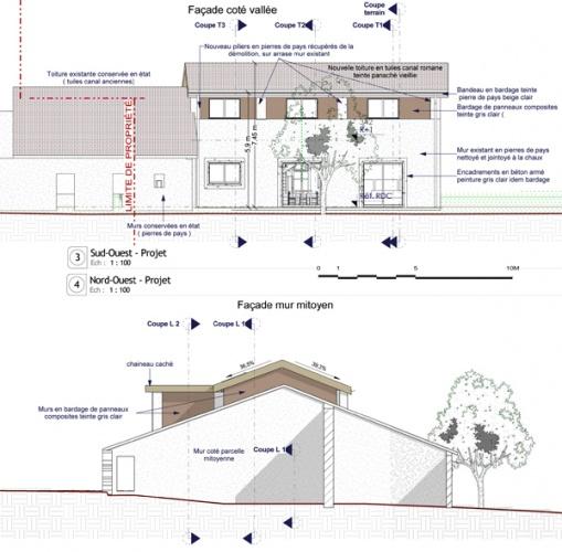 Intégration d'une maison neuve dans une ferme désafectée : Pages de 13-027 - PRO-DCE - FACADES 3-4