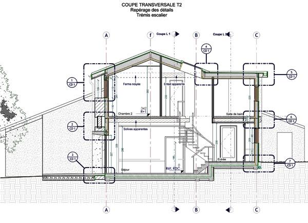 Intégration d'une maison neuve dans une ferme désafectée : 13-027 - PRO-DCE - COUPE T1