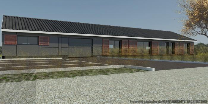 Réhabilitation d'une ancienne porcherie en habitation, bureaux et entrepôt