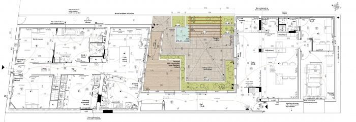 Réhabilitation d'une échoppe double avec patio : rdc 50°