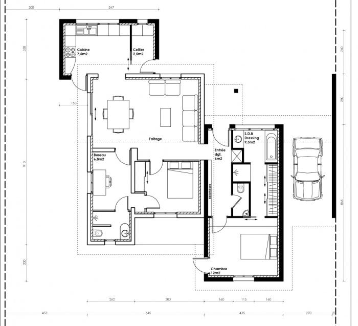 architectes extension d 39 une maison individuelle gujan mestras. Black Bedroom Furniture Sets. Home Design Ideas