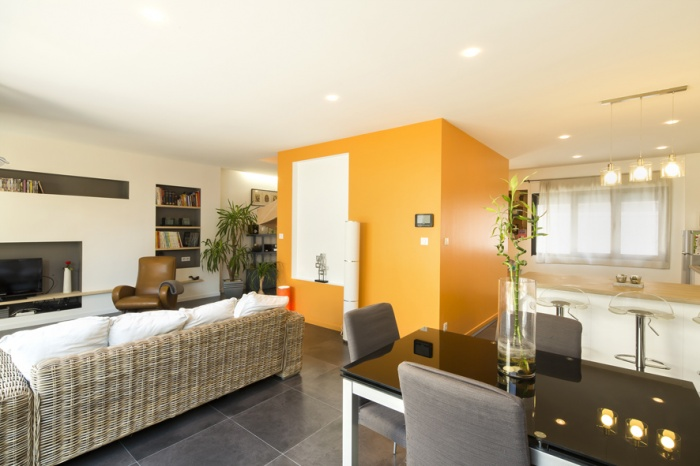 Surélévation et réaménagement  d'une maison d'habitation : salon 2
