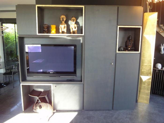 dressing avec tv latest plan de salle de bain en longueur dressing rangement meuble tv with. Black Bedroom Furniture Sets. Home Design Ideas