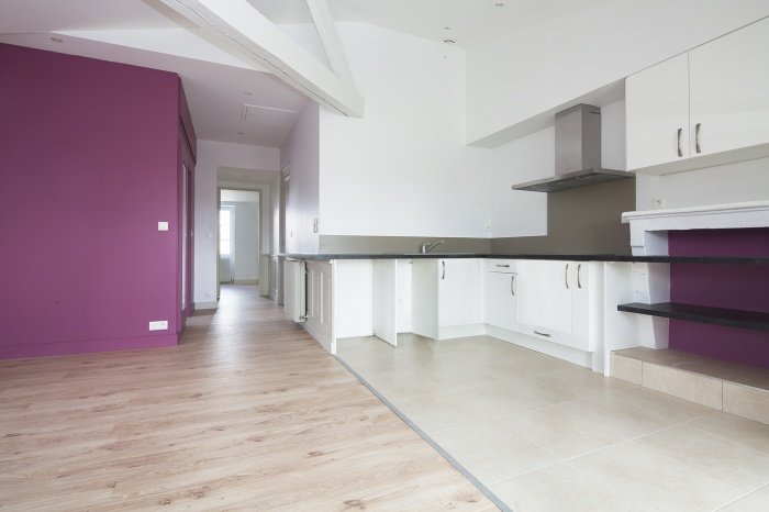 Réaménagement d'un appartement : espace de vie - vue entrée