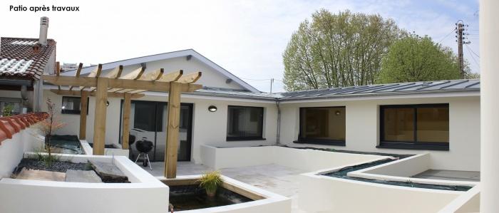 Réhabilitation d'une échoppe double avec patio