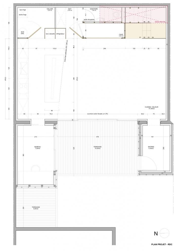 Rénovation échoppe F : Plan projet / RDC