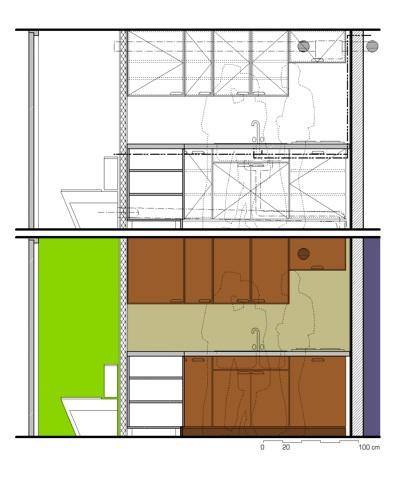 rénovation d'un appartement : élévation de la cuisine