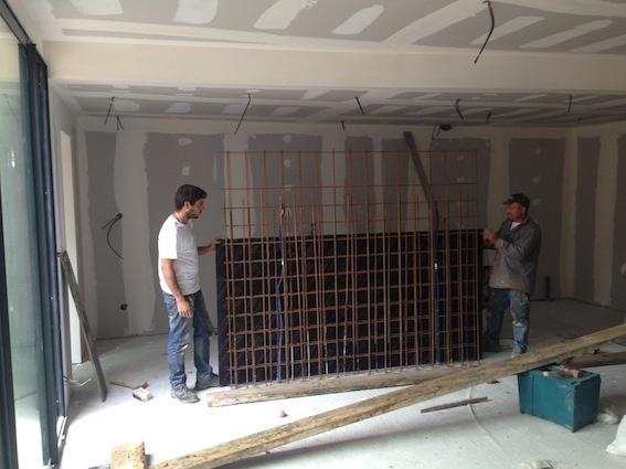 Rénovation échoppe F : Coffrage de la table béton