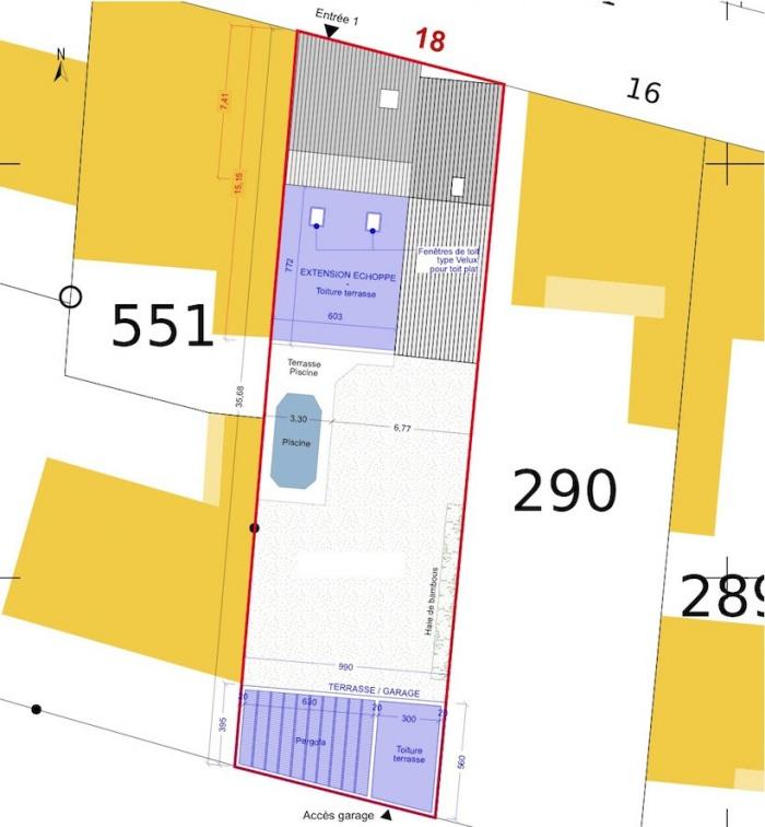 Extension d'une maison de ville : Plan masse - Projet
