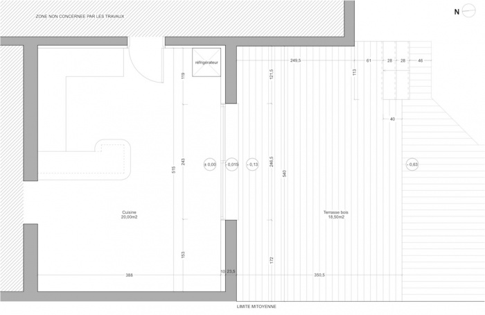 Extension d'une maison de ville : Plan - Etat des lieux