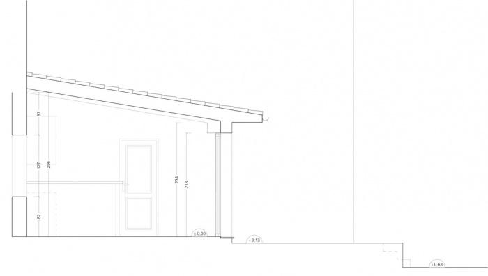 Extension d'une maison de ville : Coupe sur existant