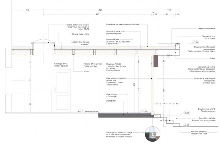 Extension d'une maison de ville : Coupe projet