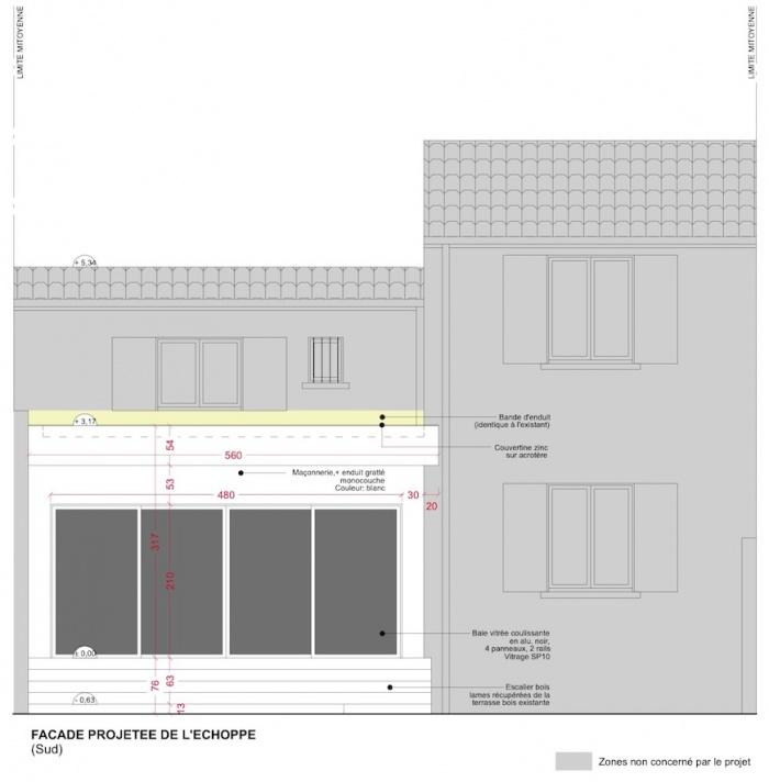 Extension d'une maison de ville : Façade - Projet