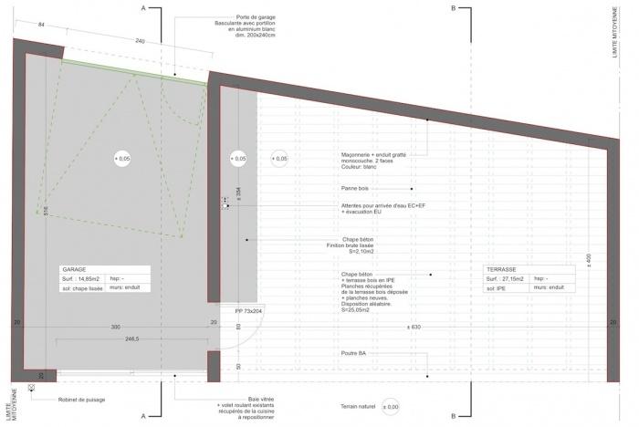 Extension d'une maison de ville : Plan garage + terrasse