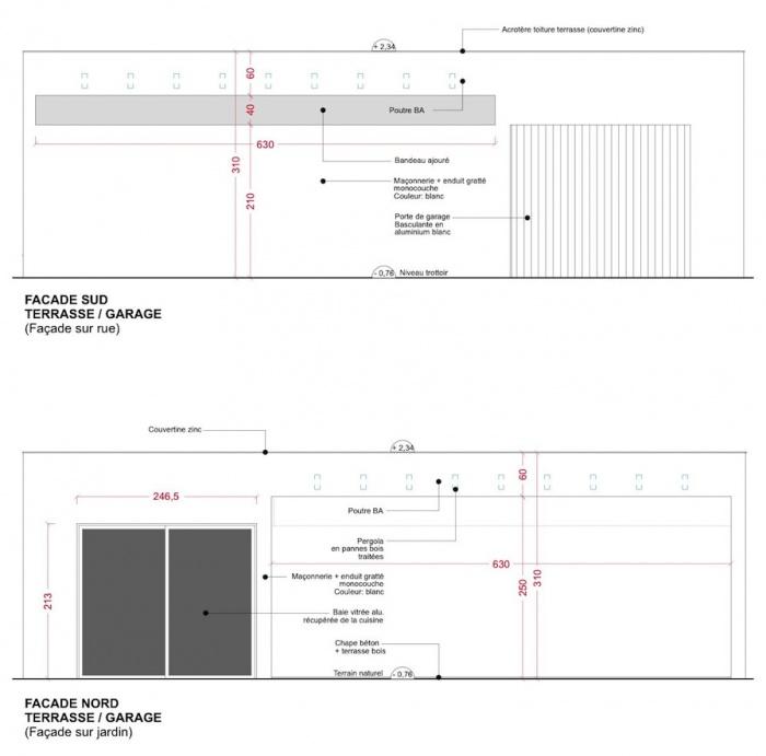 Extension d'une maison de ville : Façades garage/terrasse