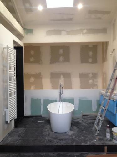 Rénovation échoppe F : Salle de bain ouverte