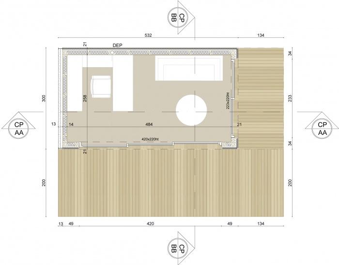 Mon Bureau dans Mon Jardin : plan intérieur