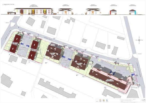 Construction d'un ensemble immobilier de 63 logements et commerce : PC2 Plan masse  - A0 COUL - 11 ex