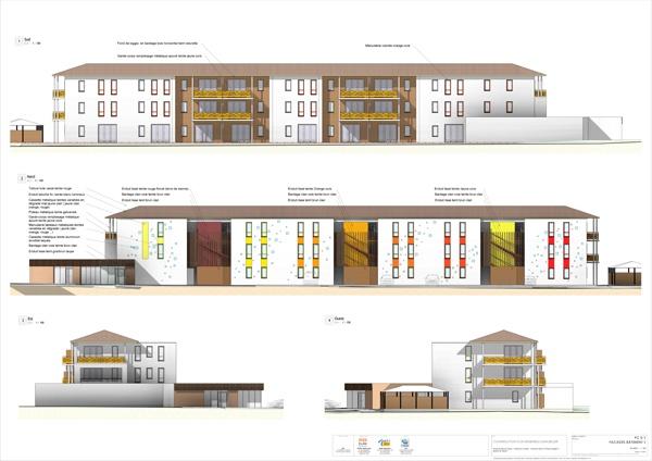 Construction d'un ensemble immobilier de 63 logements et commerce : PC5-1 Façades bat 1  - A1 COUL - 6 ex