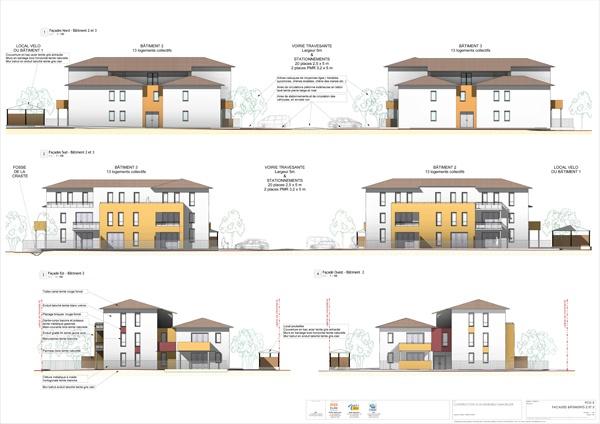 Construction d'un ensemble immobilier de 63 logements et commerce : PC5-3 Façades bat2&3  - A1 COUL - 6 ex